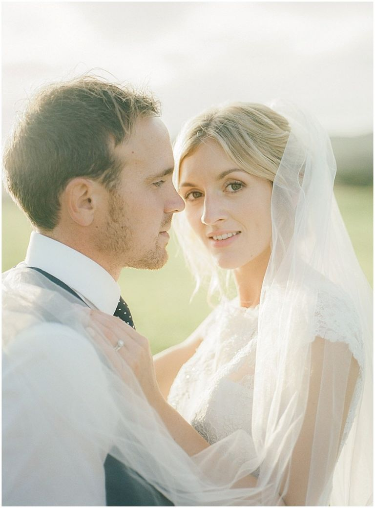 romantic portrait of bride and groom