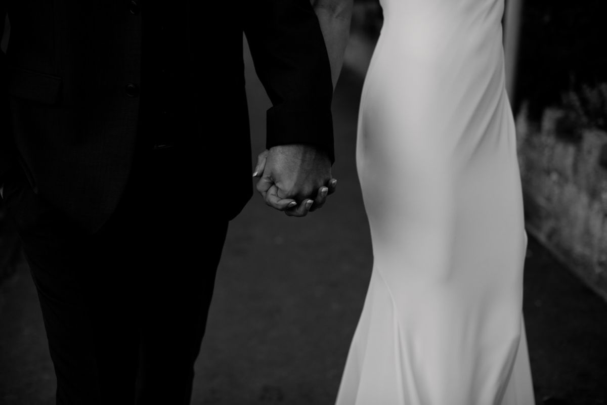 Yorkshire Wedding Photography bride and groom holding hands