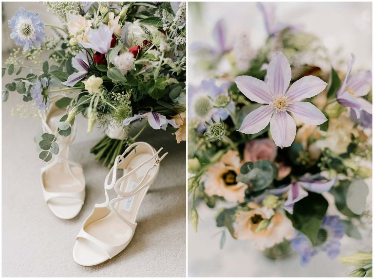 Details of flowers and shoes