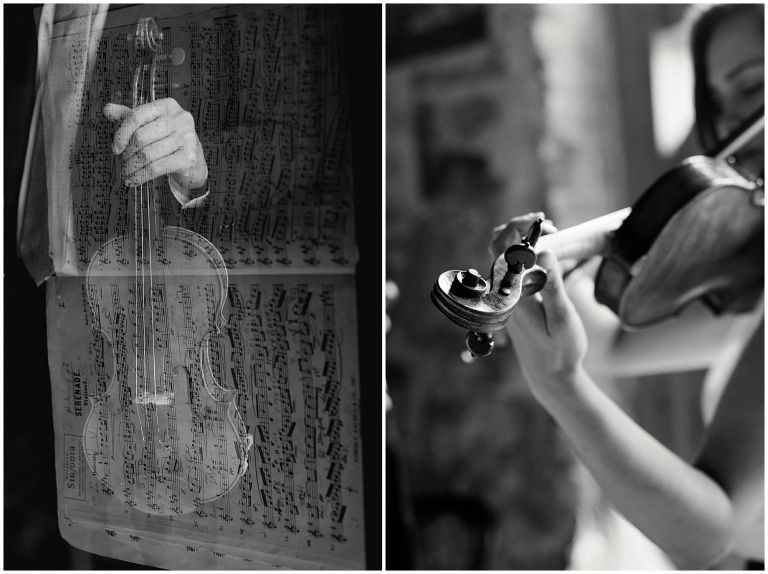 Artful Double exposure shot of music with detail shot of violin