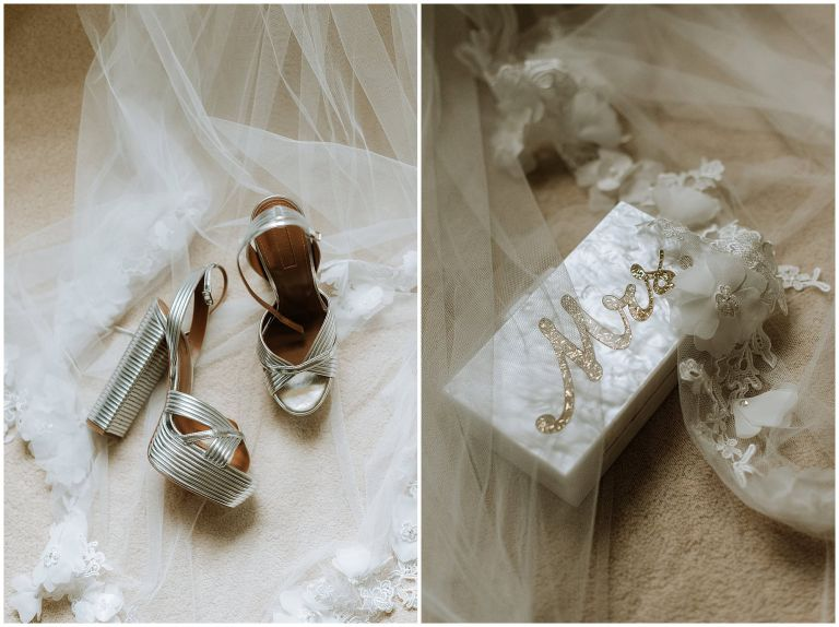 detail shot of brides Aquazura silver block heels and pretty Mude and Moda bag