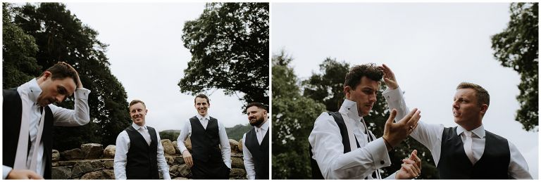 fun moments with groomsmen and groom