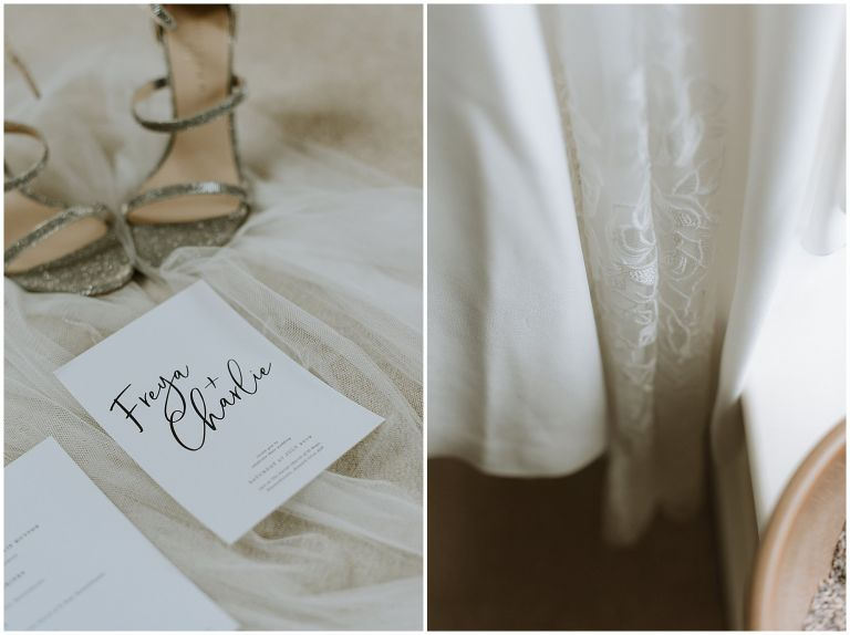 pretty details of invite and dress