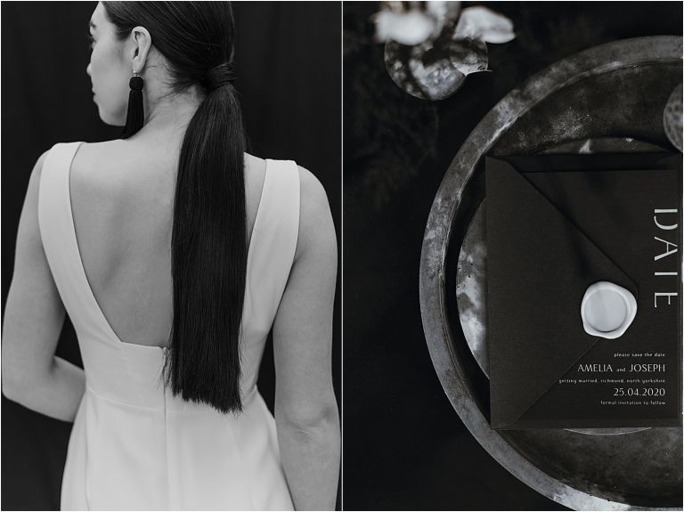 elegant detail shot of brides hair and stationery