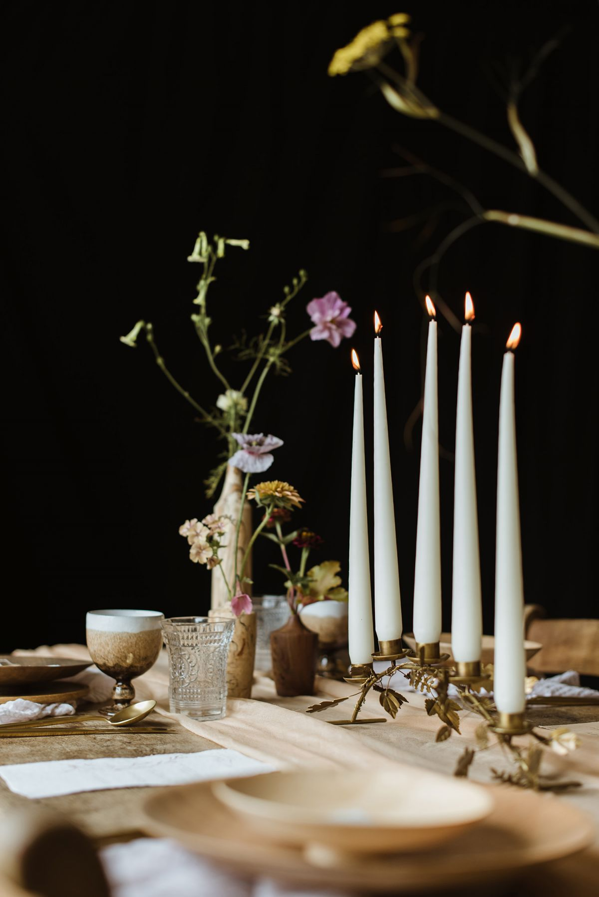 Tablescape created by Stylist for intimate wedding